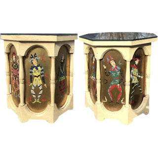 1960s Boho Chic Octagonal Colonnaded Harlequin Side Tables - a Pair For Sale