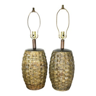 Mid-Century Woven Bamboo Table Lamps - a Pair For Sale