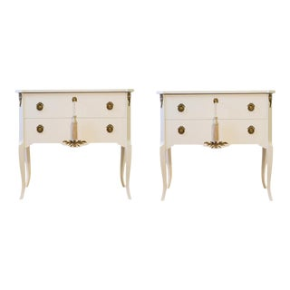Classic Gustavian Louis XV Style Chests in Two Tone Channel White - A Pair For Sale