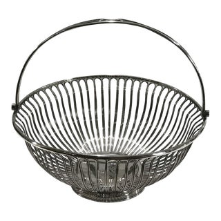 Antique Sheffield Plated Wire Work Basket For Sale