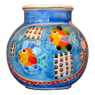 Italian Giovanni Desimone Hand Painted Art Pottery Fishermen & Nets Bowl, Italy For Sale