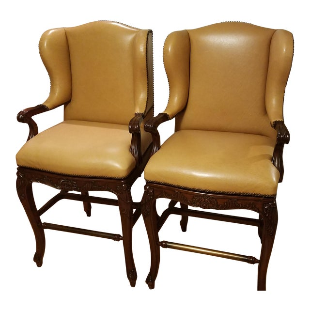 Frontgate Mustard Bar Stools - A Pair - Image 1 of 9