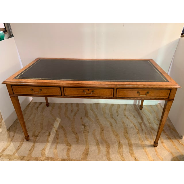 Vintage Mahogany Writing Desk With Black Leather Top For Sale - Image 13 of 13