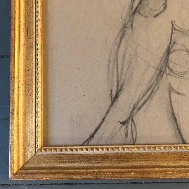 Art Deco Vintage Modernist Female Nude Charcoal Study Drawing Vintage Gilt Frame For Sale - Image 3 of 5
