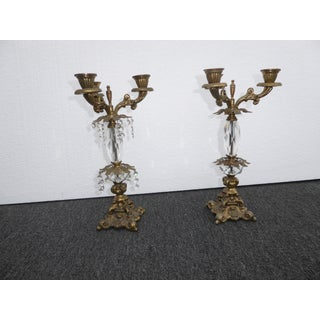 French Provincial Candalabras Candle Holders W/ Crystals - a Pair Preview