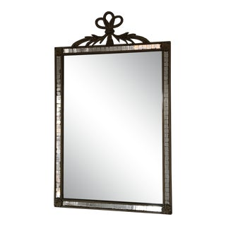 Vintage French Louis XVI Carved Floral Swag Resin Mirror With Mirror Tile Overlay For Sale