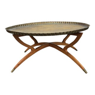 1960s Vintage Moroccan Brass Tray Table Spider Leg Base For Sale