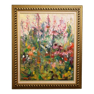 "Large Impressionist Botanical Framed Original Oil Painting, ""Fire Candle"" by Geraldine Harty For Sale"