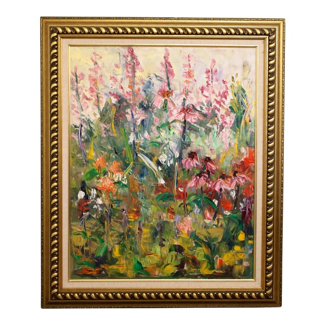 """Large Impressionist Botanical Framed Original Oil Painting, """"Fire Candle"""" by Geraldine Harty For Sale"""