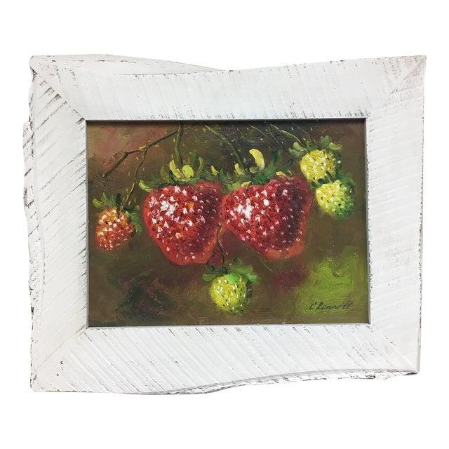 C. Ronnett Strawberry Still Life Oil Painting For Sale