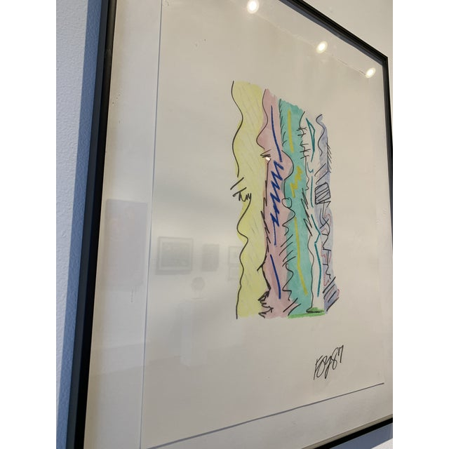 Stunning charcoal, paint and ink drawing on paper and framed. The piece was made in the 1980s.