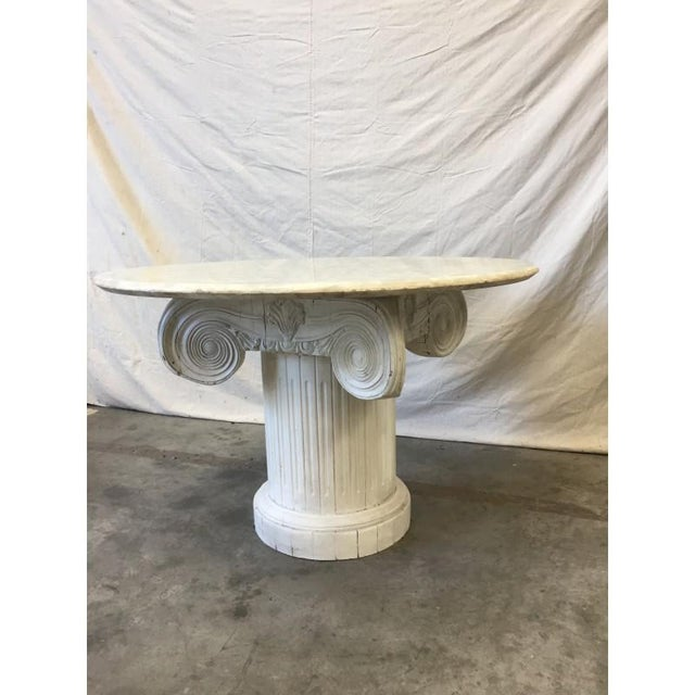 Vintage Marble Top Round Column Base Dining Table - Image 7 of 7