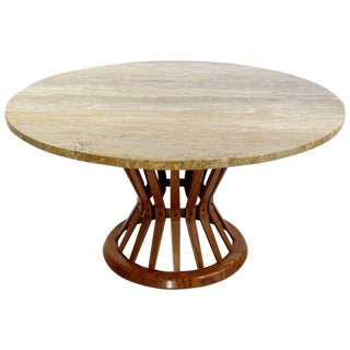 Mid Century Modern Dunbar Wheat Sheaf Marble and Wood Round Coffee Table For Sale