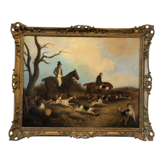 English Hunt Scene Painting For Sale