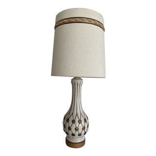 Mid Century White and Gold Ceramic Oversized Table Lamp For Sale