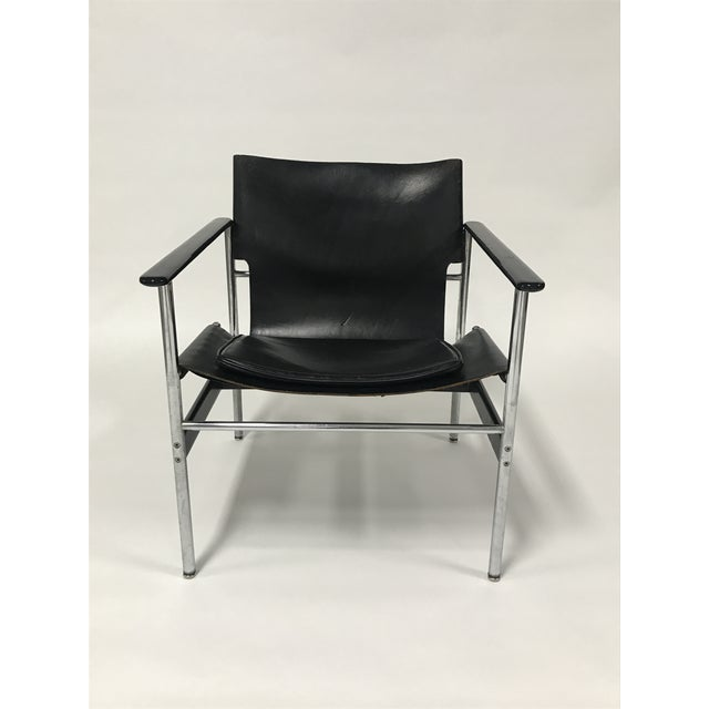 Bauhaus Charles Pollock for Knoll Black Leather Sling Chairs - a Pair For Sale - Image 3 of 9