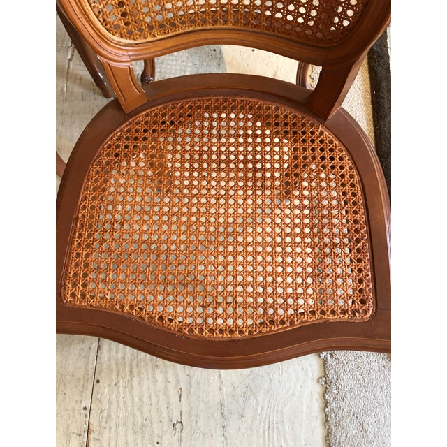 1950s Vintage Classic French Style Caned and Wood Side Dining Chairs- Set of 4 For Sale - Image 12 of 13