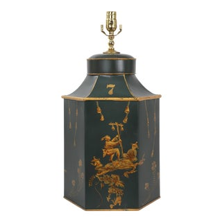 English Export Green & Gold Tea Caddy Tole Lamp For Sale