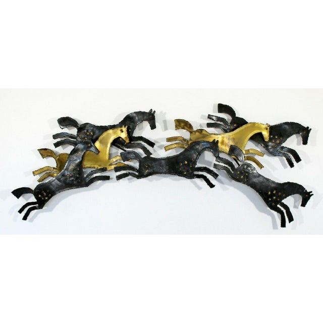 For your consideration is a magnificent, hammered metal, Brutalist art wall sculpture of horses, circa the 1960s. In...