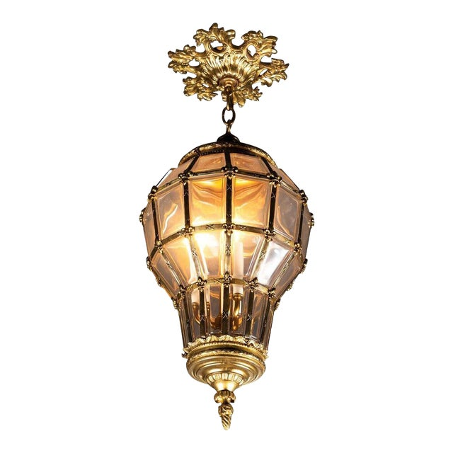 Gilt Hanging Lantern With Ceiling Escutcheon For Sale