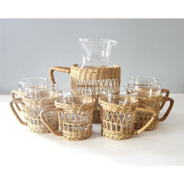 Vintage Wicker & Glass Serving Pitcher and Cups Set of 7 Mid Century Boho For Sale - Image 9 of 9