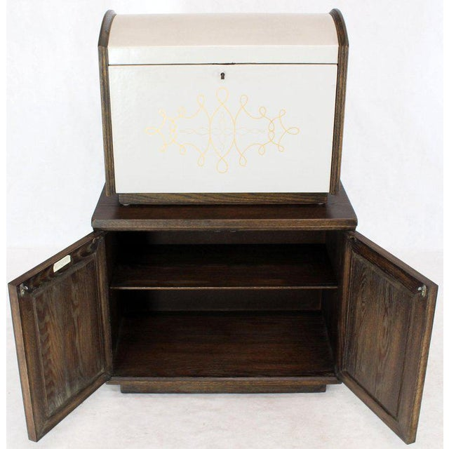 Animal Skin Cerused Carved Scallop Oak Leather Wrapped Campaign Portable Secretary Desk For Sale - Image 7 of 13
