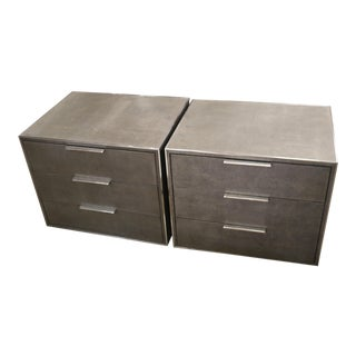 Restoration Hardware Saunderson Shagreen Closed Nightstands-a Pair For Sale
