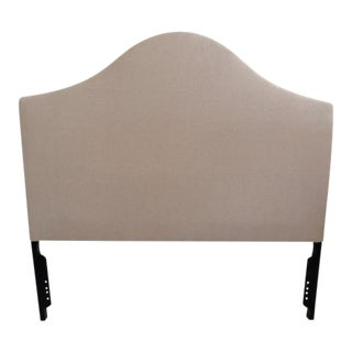 Hollywood Regency Taupe Linen Upholstered Queen Headboard For Sale