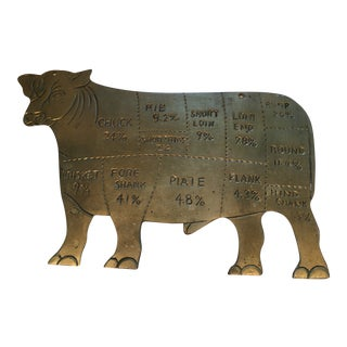 Mid 20th Century Brass Cow Butcher Chart For Sale