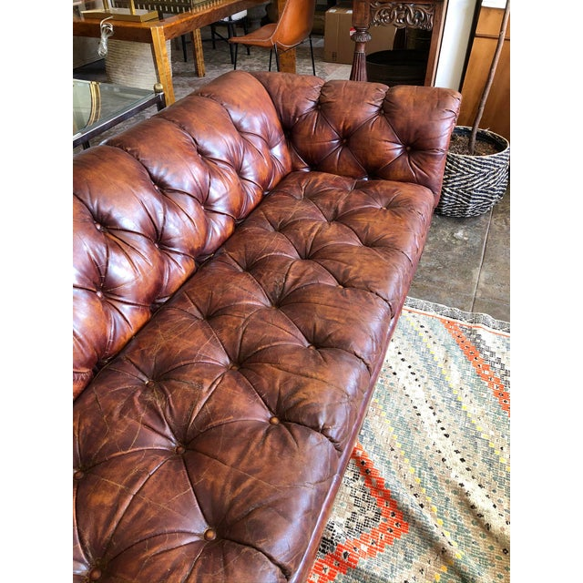 Mid-Century Modern Vintage Cognac Brown Leather Chesterfield Sofa For Sale - Image 3 of 9