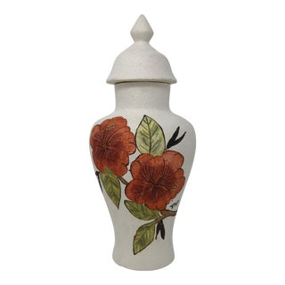 1983 Signed Ginger Jar With Hand Painted Hibiscus For Sale