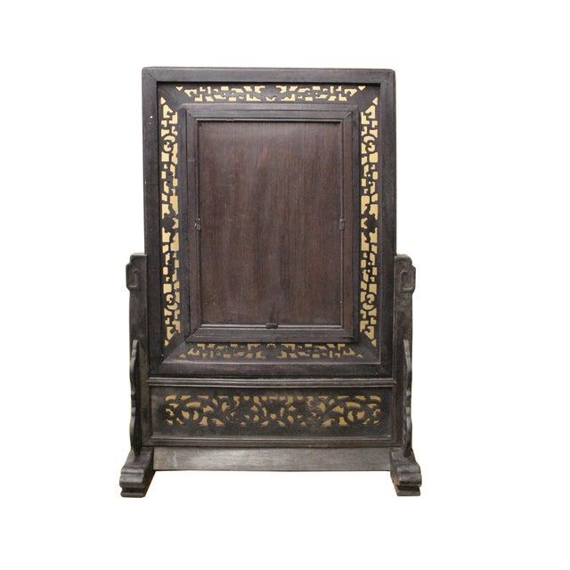 Chinese Wood Frame Porcelain Plaque Table Top Screen Display For Sale In San Francisco - Image 6 of 9