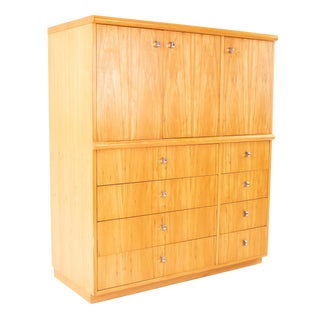 Jack Cartwright for Founders Mid Century Blonde Armoire For Sale