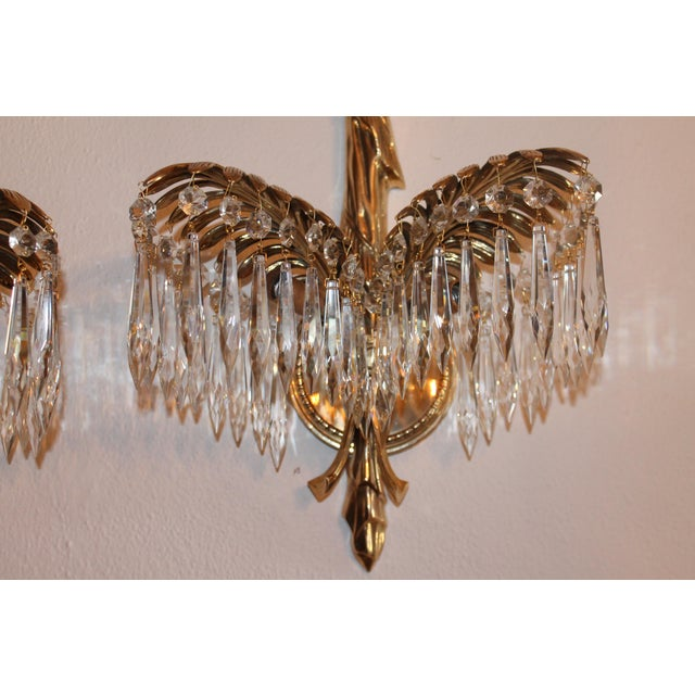 1940's French Hollywood Regency Solid Cast Bronze Palm Sconces - a Pair For Sale - Image 4 of 11