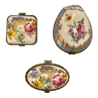 Limoges Porcelain Boxes - Set of 3 For Sale