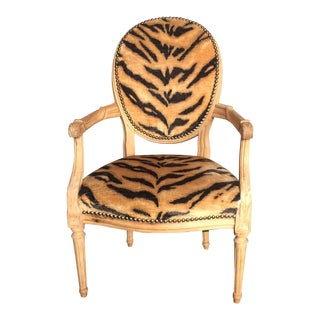 Tiger Print Arm Chair For Sale