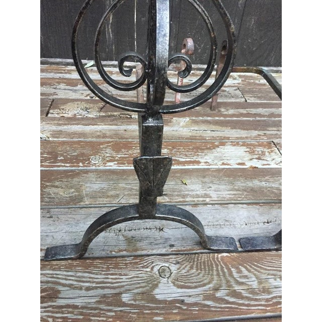 Wrought Iron Fire Dogs - A Pair For Sale - Image 10 of 11