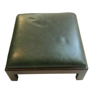 Vintage Mid Century Green Leather and Mahogany Foot Stool For Sale