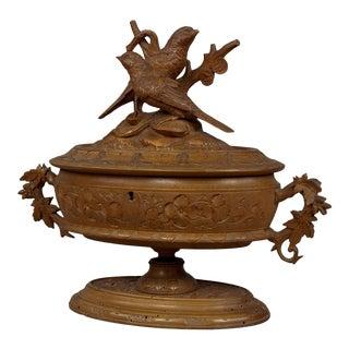 Antique Wooden Carved Casket With Birds, Brienz Ca 1890 For Sale