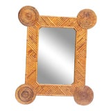 Image of Funky Rattan Mirror by Thomasville For Sale
