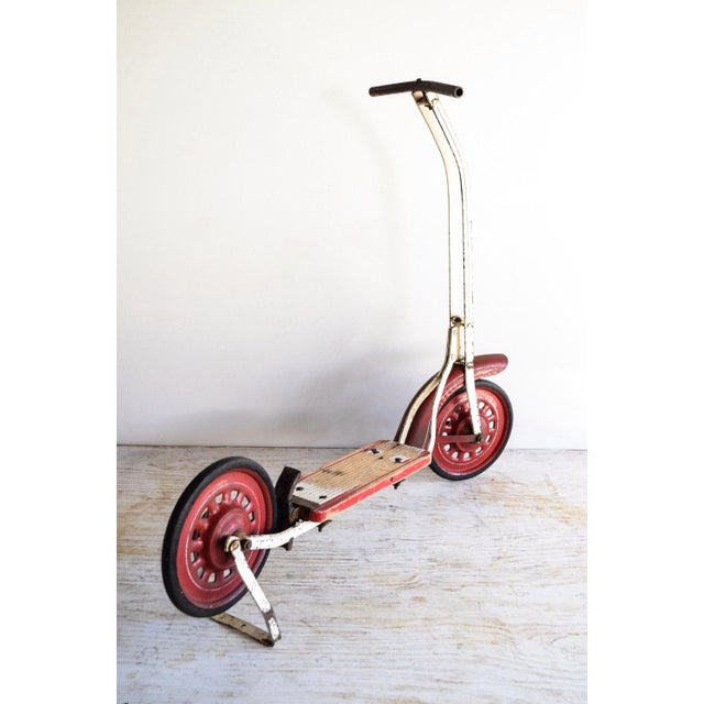 Vintage Antique Metal & Wood Child's Scooter For Sale - Image 4 of 6