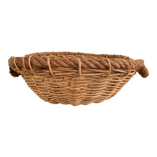 Vintage Basket With Rope Handles For Sale