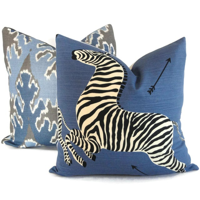 "20"" x 20"" Blue Scalamandre Zebra Decorative Pillow Cover For Sale - Image 5 of 5"