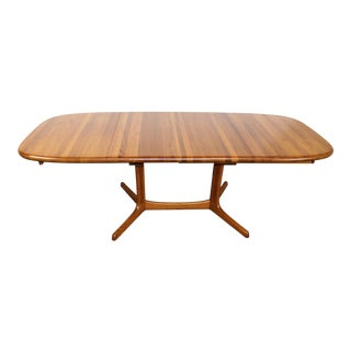 Dyrlund Solid Teak Dining Table With Two Leaves For Sale
