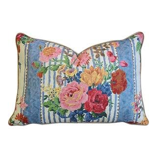 Brunschwig & Fils Rose Floral & Velvet Feather/Down Pillow