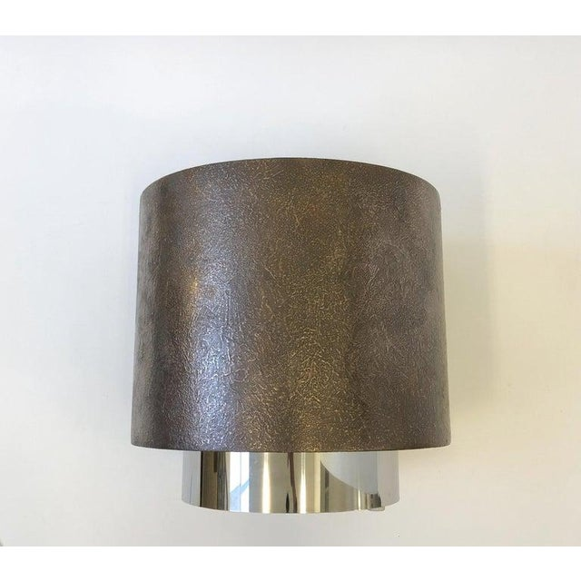 1980s Bronze and Polish Stainless Steel Drum Side Table by Steve Chase For Sale - Image 5 of 8