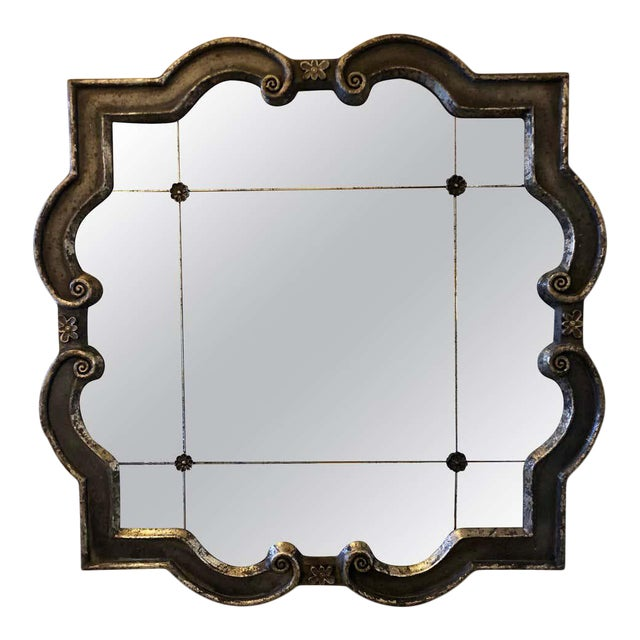 Hollywood Regency Style Wall Mirror Silver Overlay Decorated Midcentury For Sale