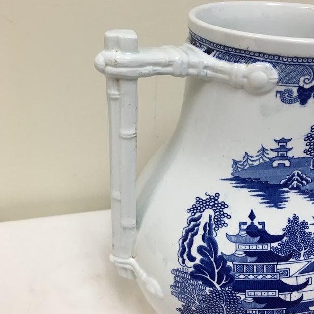 Ceramic Vintage Blue Willow Vase For Sale - Image 7 of 9