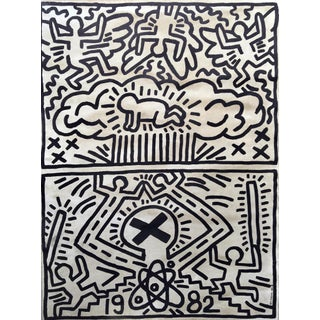 Keith Haring 'Nuclear Disarmament' 1982 Plate Signed Original Pop Art Poster For Sale