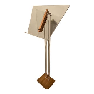 Lucite and Teak Modern Music Stand Easel For Sale